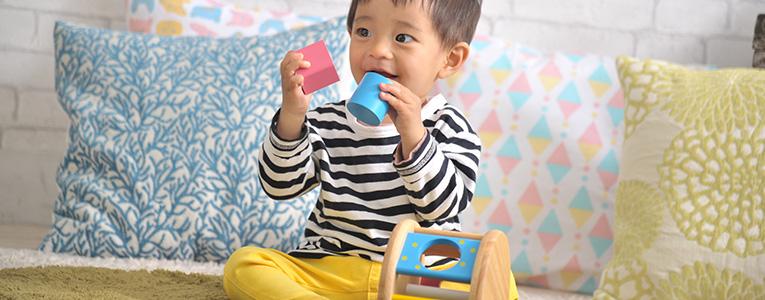 KOROKOROパズルで遊ぶ赤ちゃん