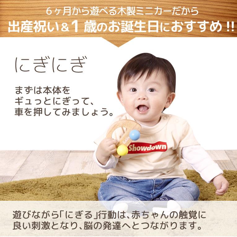 生後6ヶ月から遊べる木製ミニカー
