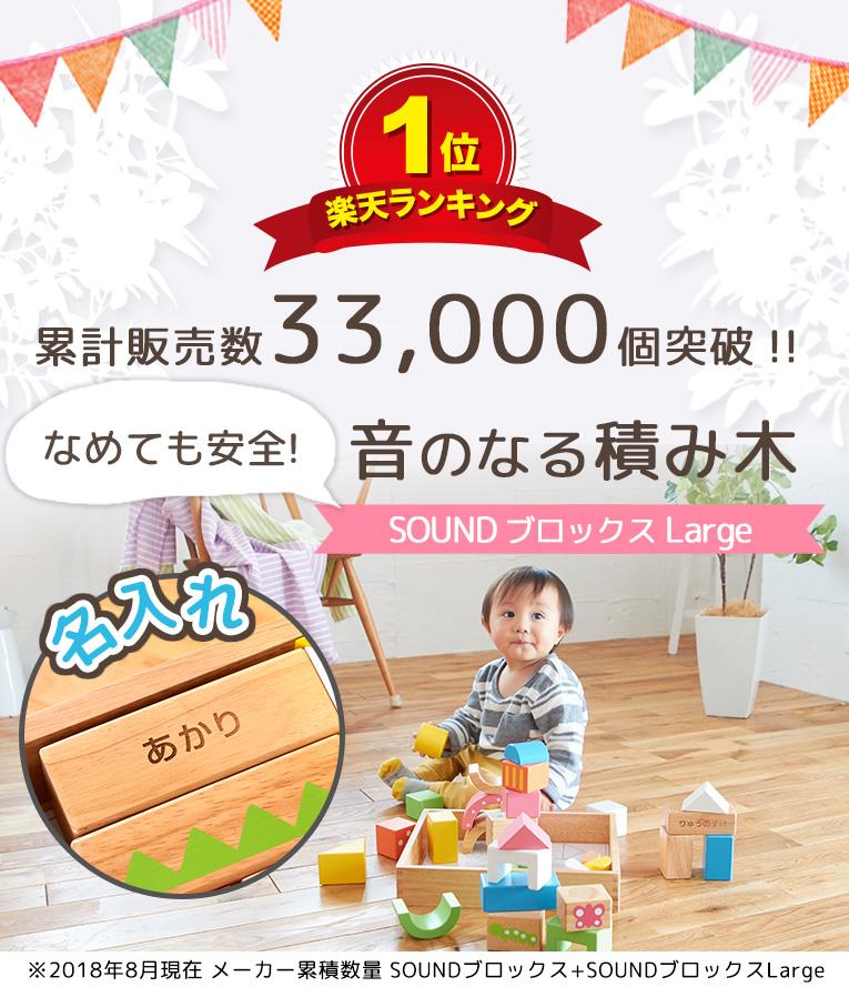 累計販売数33000個突破の赤ちゃんにぴったりの音の鳴る積み木